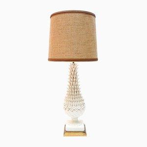 Französische Porzellan & Messing Lampe, 1950er