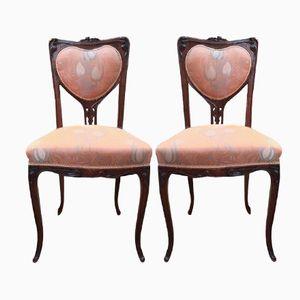 Art Nouveau Mahogany Chairs, Set of 2