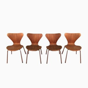 3107 Ant Teak & Plywood Chairs by Arne Jacobsen for Fritz Hansen, 1960s, Set of 4