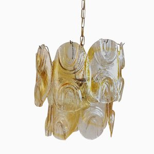 Lámpara de techo de vidrio soplado de Mazzega, años 70