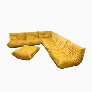 Yellow Leather Togo Sofa Set by Michel Ducaroy for Ligne Roset, 1970s