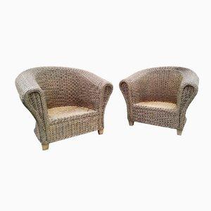 Sessel aus Korbgeflecht, 1960er, 2er Set