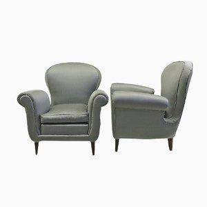 Italienische Sessel aus Blauem Satin, 1950er, 2er Set