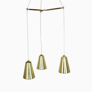 Lámpara de techo vintage de latón, teca y vidrio con tres brazos de Lightolier