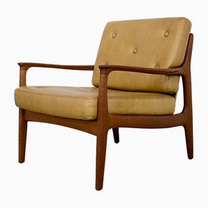 Danish Teak Armchair with Brown Leather Cushions, 1960s