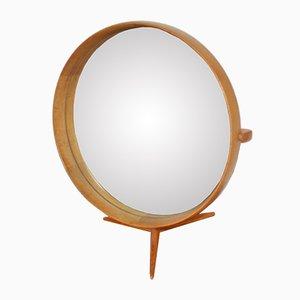 Espejo de mesa con marco de madera de Uno & Osten Kristiansson para Luxus, 1960