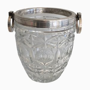 Crystal and Silver Metal Champagne Bucket, 1930s