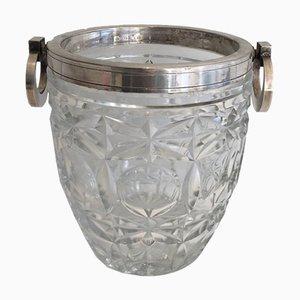 Hielera de champán de cristal y metal plateado