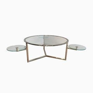 Mesa de centro redonda con tablero de vidrio movible, años 70