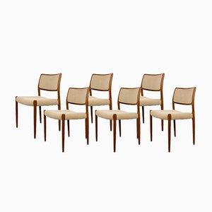 Dänische Vintage Modell 80 Teakholz Stühle von Niels O. Møller, 6er Set