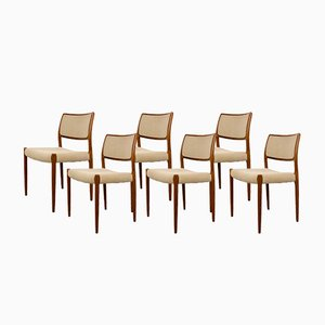 Vintage Danish Model 80 Teak Chairs from Niels O. Møller, Set of 6