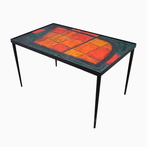 Tavolino da caffè Lava in ceramica Robert & Jean Cloutier per Potiers de Vallauris, anni '50