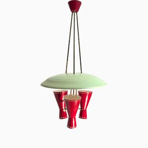 Italian Disc Pendant with Diabolo Shaped Sconces from Stilnovo, 1950s