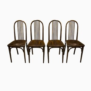 Vintage Beech Dining Chairs No.639 by Josef Hoffmann for Thonet, Set of 4