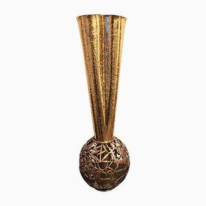 Vase Art Déco en Laiton Martelé
