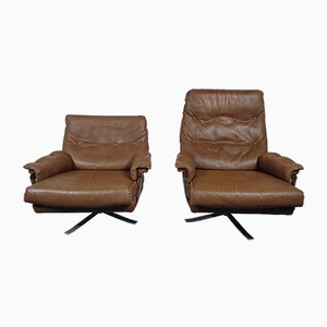 Swedish Leather Swivel Lounge Chairs by Arne Norell for Vatne Mobler, Set of 2