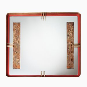 Gold Leaf, Red Metal, & Brass Mirror, 1950s
