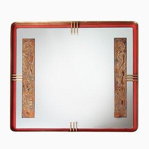 Specchio in metallo rosso, ottone e foglia d'oro, anni '50