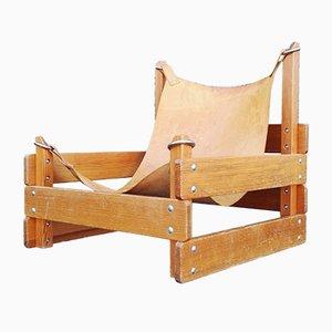 Silla de pino con asiento en cabestrillo, años 60