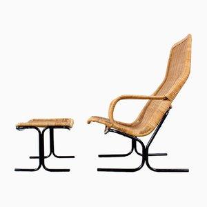 Easy-Chair et Tabouret Mid-Century par Dirk van Sliedregt pour Gebr. Jonkers