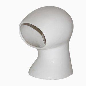 Lámpara de mesa española de cerámica blanca, años 60