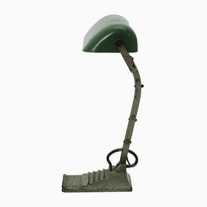 Lámpara de escritorio Bauhaus de vidrio verde, años 20