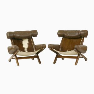 Swedish Cow Skin Armchairs by Arne Norell, Set of 2