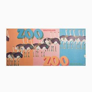 Poster dello zoo di Bratislava di Marek Mosiński per RSW Prasa Katowice, 1970