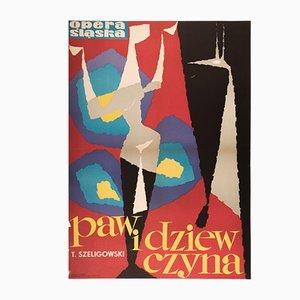 Póster de ópera polaco vintage de Tadeusz Gryglewski para RSW Prasa Katowice, años 60