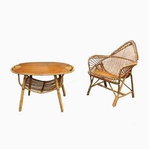 Juego de sillón y mesa vintage de ratán de Janine Abraham
