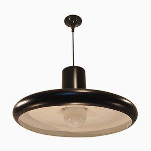 Lámpara de techo colgante francesa industrial Mid-Century en negro de Lita, 1960
