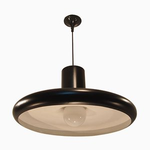 Mid-Century Black Industrial French Pendant Ceiling Light from Lita, 1960