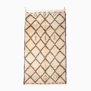 Alfombra Beni Ourain marroquí vintage blanca y marrón, años 70