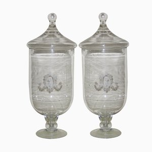 Frascos franceses de vidrio, años 50. Juego de 2