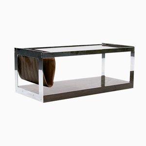 Mesa de centro italiana vintage de cristal ahumado