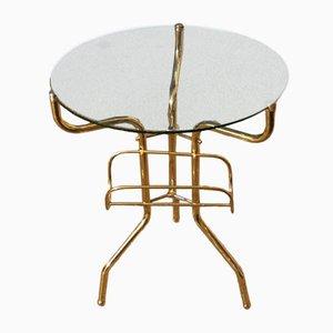 Mesa de centro italiana de vidrio y latón, años 50