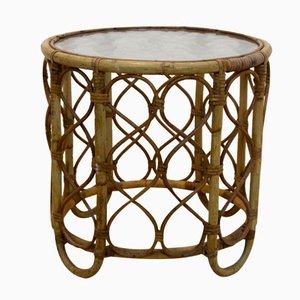 Vintage Dutch Wicker & Glass Side Table from Rohé Noordwolde