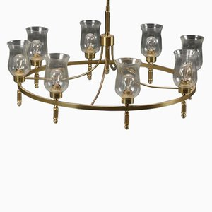 Large Brass Chandelier by Svend Mejlstrøm, 1960s