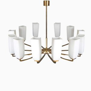 Twelve- Arm Brass & Opaline Glass Chandelier from Kaiser Leuchten, 1960s