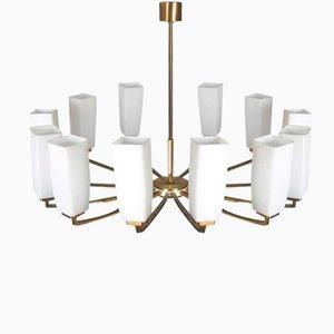 Twelve- Arm Brass & Opaline Glass Chandelier from Kaiser Leuchten, 1960s