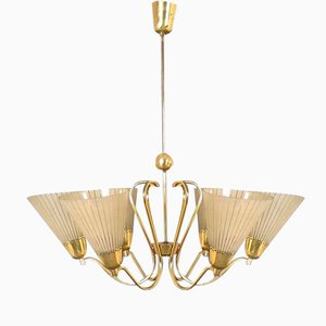 German Brass & Etched Glass Chandelier, 1950s
