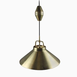 Adjustable Danish P 295 Brass Pendant by Frits Schlegel for Lyfa, 1960s