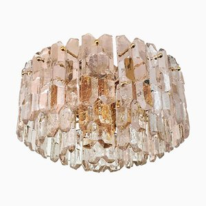 Large Palazzo Flush Mount Ice Glass Chandelier from J. T. Kalmar, 1970s