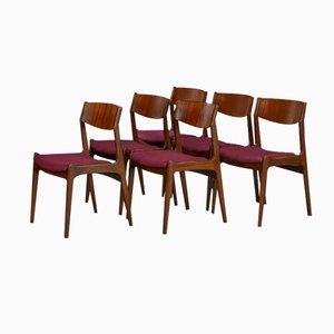 Sedie da pranzo Mid-Century in palissandro, Danimarca, set di 6