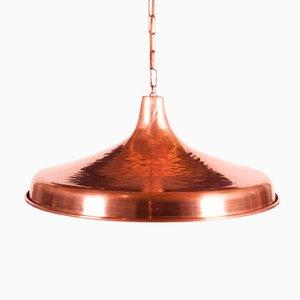 Luz colgante danesa de cobre martillado, años 50