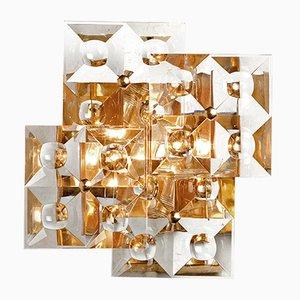 Wandlampe aus Hellem Messing & Geschliffenem Glas von Stilkrone, 1960er