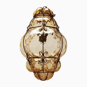 Lámpara colgante de vidrio enjaulado de Seguso Murano, 1960s, años 60