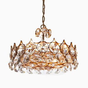 Seven-Light Gilt Brass and Crystal Glass Chandelier from Palwa, 1960s