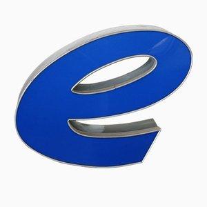 Lettre E Vintage Grise et Bleue