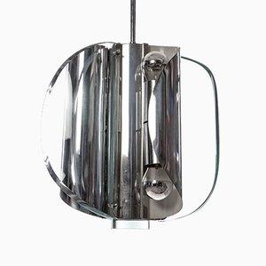 Lámpara colgante de vidrio y metal cromado, años 60